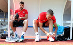 EVIAN-LES-BAINS, FRANCE - JULY 24: Sam McQueen(L) and Oriol Romeu during day 2 of Southampton FC's pre-season training camp on July 24, 2018 in Evian-les-Bains, France. (Photo by Matt Watson/Southampton FC via Getty Images)