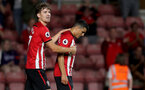 SOUTHAMPTON, ENGLAND - AUGUST 01: Sam Gallagher(L) and Mohamed Elyounoussi(R) of Southampton FC during the pre-season friendly match between Southampton and Celta Vigo at St Mary's Stadium on August 1, 2018 in Southampton, England. (Photo by Matt Watson/Southampton FC via Getty Images)