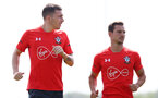 SOUTHAMPTON, ENGLAND - AUGUST 07: Pierre-Emile Hojbjerg(L) and Cedric during a Southampton FC training session at the Staplewood Campus on August 7, 2018 in Southampton, England. (Photo by Matt Watson/Southampton FC via Getty Images)