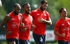 SOUTHAMPTON, ENGLAND - AUGUST 07: LtoR Nathan Redmond, Ryan Bertrand, Charlie Austin, Cedric during a Southampton FC training session at Staplewood Complex on August 7, 2018 in Southampton, England. (Photo by James Bridle - Southampton FC/Southampton FC via Getty Images)
