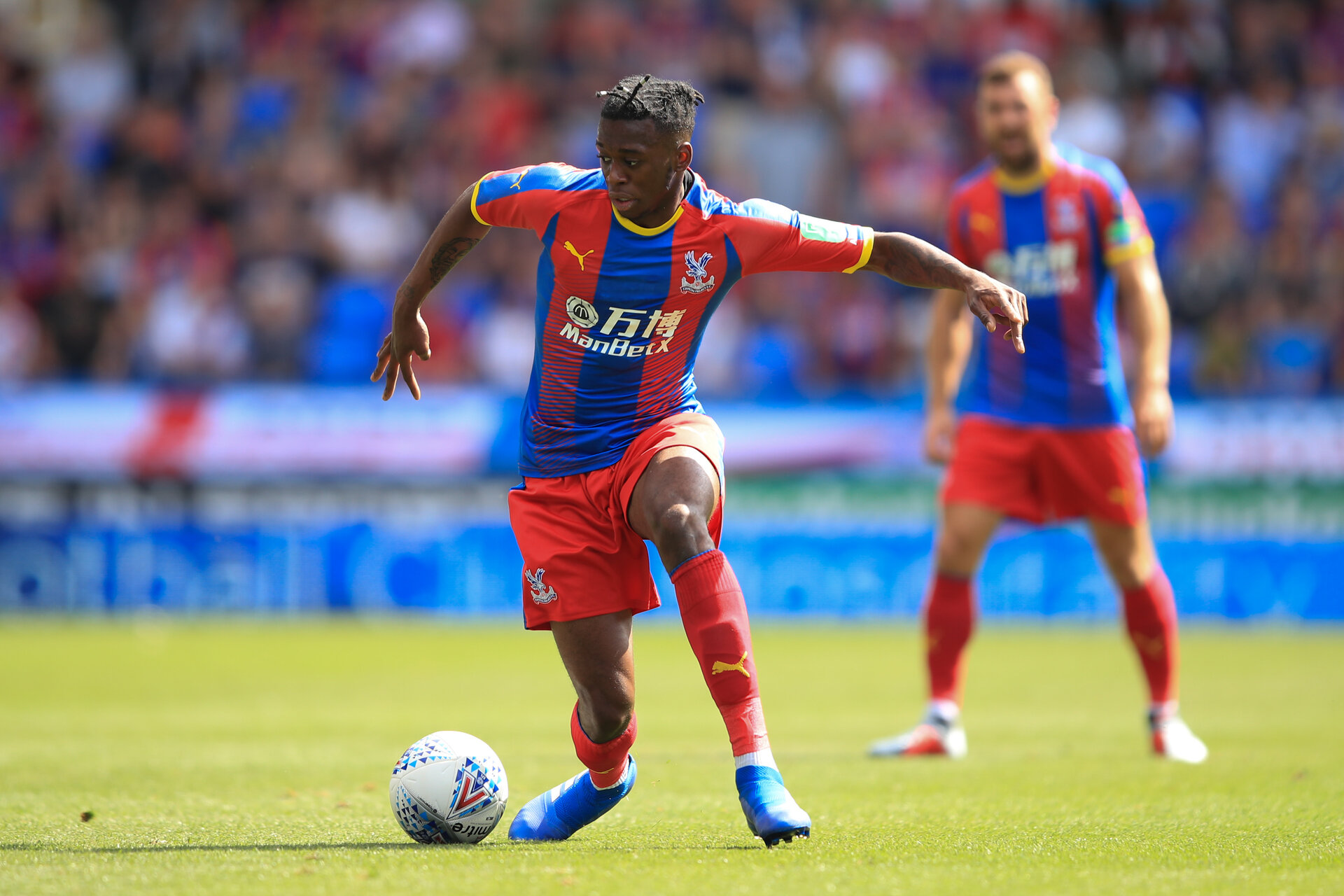 READING, ENGLAND - JULY 28: Aaron Wan-Bissaka of Crystal Palace during the Pre-Season Friendly between Reading and Crystal Palace at Madejski Stadium on July 28, 2018 in Reading, England. (Photo by Marc Atkins/Getty Images)