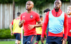 SOUTHAMPTON, ENGLAND - AUGUST 10: LtoR Tyreke Johnson, Michael Obafemi ahead of the PL2 match between Southampton FC vs Middlesbrough FC pictured at Staplewood Complex on August 10, 2018 in Southampton, England. (Photo by James Bridle - Southampton FC/Southampton FC via Getty Images)
