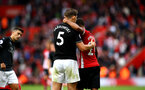 SOUTHAMPTON, ENGLAND - AUGUST 12: Ryan Bertrand (right) of Southampton FC after the final whistle is blown with James Tarkowski (left) during the Premier League match between Southampton FC and Burnley FC at St Mary's Stadium on August 12, 2018 in Southampton, United Kingdom. (Photo by James Bridle - Southampton FC/Southampton FC via Getty Images)