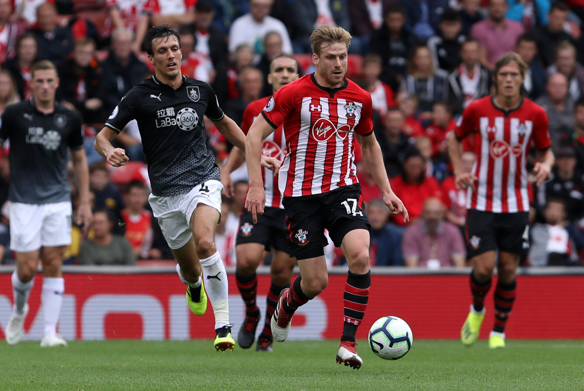 SOUTHAMPTON, ENGLAND - AUGUST 12: Stuart Armstrong of Southampton during the Premier League match between Southampton FC and Burnley FC at St Mary's Stadium on August 12, 2018 in Southampton, United Kingdom. (Photo by Chris Moorhouse/Southampton FC via Getty Images)