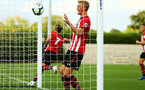 SOUTHAMPTON, ENGLAND - AUGUST 14: Christoph Klarer (middle) grabs the ball after Sam Gallagher scores from a header during the U23 International Cup match between Southampton FC vs Dinamo Zagreb pictured at Staplewood Complex on August 14, 2018 in Southampton, England. (Photo by James Bridle - Southampton FC/Southampton FC via Getty Images)