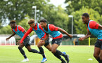 SOUTHAMPTON, ENGLAND - AUGUST 15:  LtoR Alex Janekewitz, Enzo Robise, Marcus Barnes, Kayne Ramsay pictured at Staplewood Complex on August 15, 2018 in Southampton, England. (Photo by James Bridle - Southampton FC/Southampton FC via Getty Images)