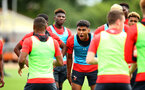 SOUTHAMPTON, ENGLAND - AUGUST 15:  Marcus Barnes (middle) pictured at Staplewood Complex on August 15, 2018 in Southampton, England. (Photo by James Bridle - Southampton FC/Southampton FC via Getty Images)