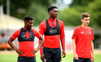 SOUTHAMPTON, ENGLAND - AUGUST 15:  LtoR Enzo Robise, Allan TChaptChet, James Morris pictured at Staplewood Complex on August 15, 2018 in Southampton, England. (Photo by James Bridle - Southampton FC/Southampton FC via Getty Images)