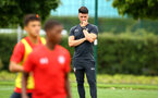 SOUTHAMPTON, ENGLAND - AUGUST 15:  Tom Henson (middle) pictured at Staplewood Complex on August 15, 2018 in Southampton, England. (Photo by James Bridle - Southampton FC/Southampton FC via Getty Images)