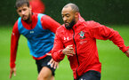 SOUTHAMPTON, ENGLAND - AUGUST 16: Nathan Redmond (right) during a Southampton FC training session at Staplewood Complex on August 16, 2018 in Southampton, England. (Photo by James Bridle - Southampton FC/Southampton FC via Getty Images)