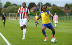LONDON, ENGLAND - AUGUST 20: Tyreke Johnson (right) during an U23 Pl2 match between Southampton FC and Stoke City Clayton Training Ground on August 20, 2018 in London, England. (Photo by James Bridle - Southampton FC/Southampton FC via Getty Images)