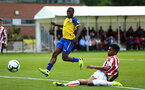 LONDON, ENGLAND - AUGUST 20: Michael Obafemi (left) during an U23 Pl2 match between Southampton FC and Stoke City Clayton Training Ground on August 20, 2018 in London, England. (Photo by James Bridle - Southampton FC/Southampton FC via Getty Images)