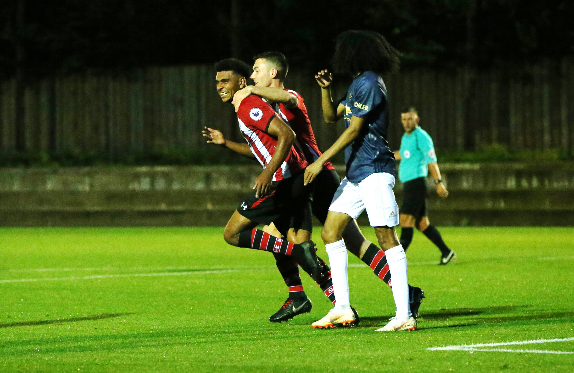 Marcus Barnes' goal celebration. Southampton U23s v Manchester United U23s, Staplewood Campus, Marchwood, Southampton            Picture: Chris Moorhouse               Friday 24th August 2018             FOR EDITORIAL USE ONLY