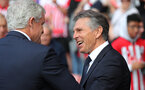 SOUTHAMPTON, ENGLAND - AUGUST 25: Mark Hughes(L) of Southampton and Claude Puel of Leicester during the Premier League match between Southampton FC and Leicester City at St Mary's Stadium on August 25, 2018 in Southampton, United Kingdom. (Photo by Matt Watson/Southampton FC via Getty Images)