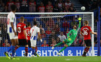 BRIGHTON, ENGLAND - AUGUST 28: Angus Gunn of Southampton see's a shot sail over during the Carabao Cup Second Round match between Brighton & Hove Albion and Southampton at American Express Community Stadium on August 28, 2018 in Brighton, England. (Photo by Matt Watson/Southampton FC via Getty Images)