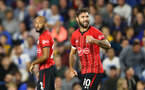 BRIGHTON, ENGLAND - AUGUST 28: Charlie Austin(R) of Southampton celebrates after scoring during the Carabao Cup Second Round match between Brighton & Hove Albion and Southampton at American Express Community Stadium on August 28, 2018 in Brighton, England. (Photo by Matt Watson/Southampton FC via Getty Images)