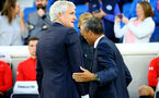 BRIGHTON, ENGLAND - AUGUST 28: Mark Hughes (left) Chris Hughton (right) ahead of the Carabao Cup Second Round match between Brighton & Hove Albion and Southampton at American Express Community Stadium on August 28, 2018 in Brighton, England. (Photo by James Bridle - Southampton FC/Southampton FC via Getty Images)