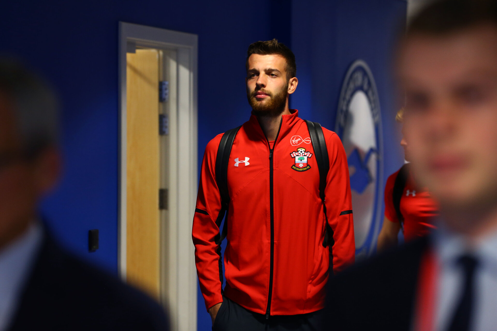 BRIGHTON, ENGLAND - AUGUST 28: Angus Gunn of Southampton FC arrives ahead of the Carabao Cup Second Round match between Brighton & Hove Albion and Southampton at American Express Community Stadium on August 28, 2018 in Brighton, England. (Photo by James Bridle - Southampton FC/Southampton FC via Getty Images)