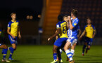 COLCHESTER, ENGLAND - SEPTEMBER 04: Michael Obafemi (middle) during the Check a Trade Cup match between Colchester United vs Southampton FC at Jobserve Community Stadium on September 04, 2018 in Colchester, England. (Photo by James Bridle - Southampton FC/Southampton FC via Getty Images)