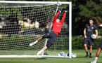 Fraser Forster tips the ball onto the crossbar during a Southampton FC training session, at the Staplewood Campus, Southampton, 6th September 2018