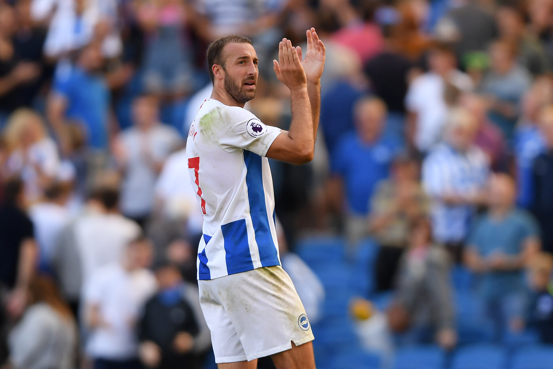 BRIGHTON, ENGLAND - SEPTEMBER 01:  Glenn Murray of Brighton & Hove Albion applauds the fans at the end of the Premier League match between Brighton & Hove Albion and Fulham FC at American Express Community Stadium on September 1, 2018 in Brighton, United Kingdom.  (Photo by Mike Hewitt/Getty Images)