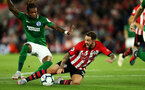 SOUTHAMPTON, ENGLAND - SEPTEMBER 17TH: Danny Ings of Southampton is fouled for a penalty during the Premier League match between Southampton FC and Brighton & Hove Albion at St Mary's Stadium on September 17, 2018 in Southampton, United Kingdom. (Photo by Chris Moorhouse/Southampton FC via Getty Images)