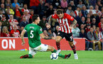 SOUTHAMPTON, ENGLAND - SEPTEMBER 17: Danny Ings (right) of Southampton FC takes on Kewis Dunk of Brighton Hove Albion (left) during the Premier League match between Southampton FC and Brighton & Hove Albion at St Mary's Stadium on September 17, 2018 in Southampton, United Kingdom. (Photo by James Bridle - Southampton FC/Southampton FC via Getty Images)