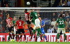 SOUTHAMPTON, ENGLAND - SEPTEMBER 17: Mario Lemina goes up against Shane Duffy of Brighton Hove Albion during the Premier League match between Southampton FC and Brighton & Hove Albion at St Mary's Stadium on September 17, 2018 in Southampton, United Kingdom. (Photo by James Bridle - Southampton FC/Southampton FC via Getty Images)