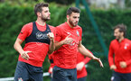 SOUTHAMPTON, ENGLAND - SEPTEMBER 20: Jack Stephens(L) and Wesley Hoedt during a Southampton FC training session at Staplewood Complex on September 20, 2018 in Southampton, England. (Photo by Matt Watson/Southampton FC via Getty Images)