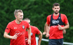 SOUTHAMPTON, ENGLAND - SEPTEMBER 20: James Ward-Prowse(L) during a Southampton FC training session at Staplewood Complex on September 20, 2018 in Southampton, England. (Photo by Matt Watson/Southampton FC via Getty Images)