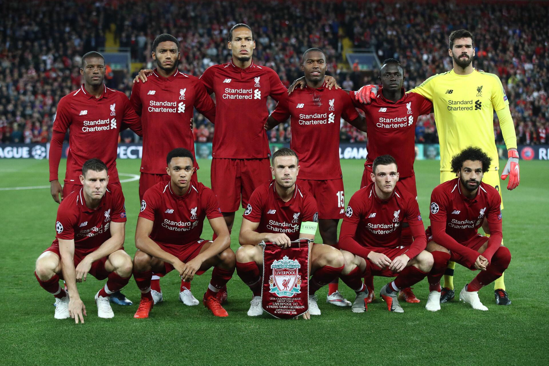 LIVERPOOL, ENGLAND - SEPTEMBER 18:  Liverpool line up prior to the Group C match of the UEFA Champions League between Liverpool and Paris Saint-Germain at Anfield on September 18, 2018 in Liverpool, United Kingdom.  (Photo by Julian Finney/Getty Images)