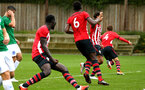 SOUTHAMPTON, ENGLAND - SEPTEMBER 22: Dan Bartlett (right) scores during the U18 Premier League match between Southampton FC and Brighton Hove Albion at Staplewood Training Ground on September 22, 2018 in Southampton, United Kingdom. (Photo by James Bridle - Southampton FC/Southampton FC via Getty Images)
