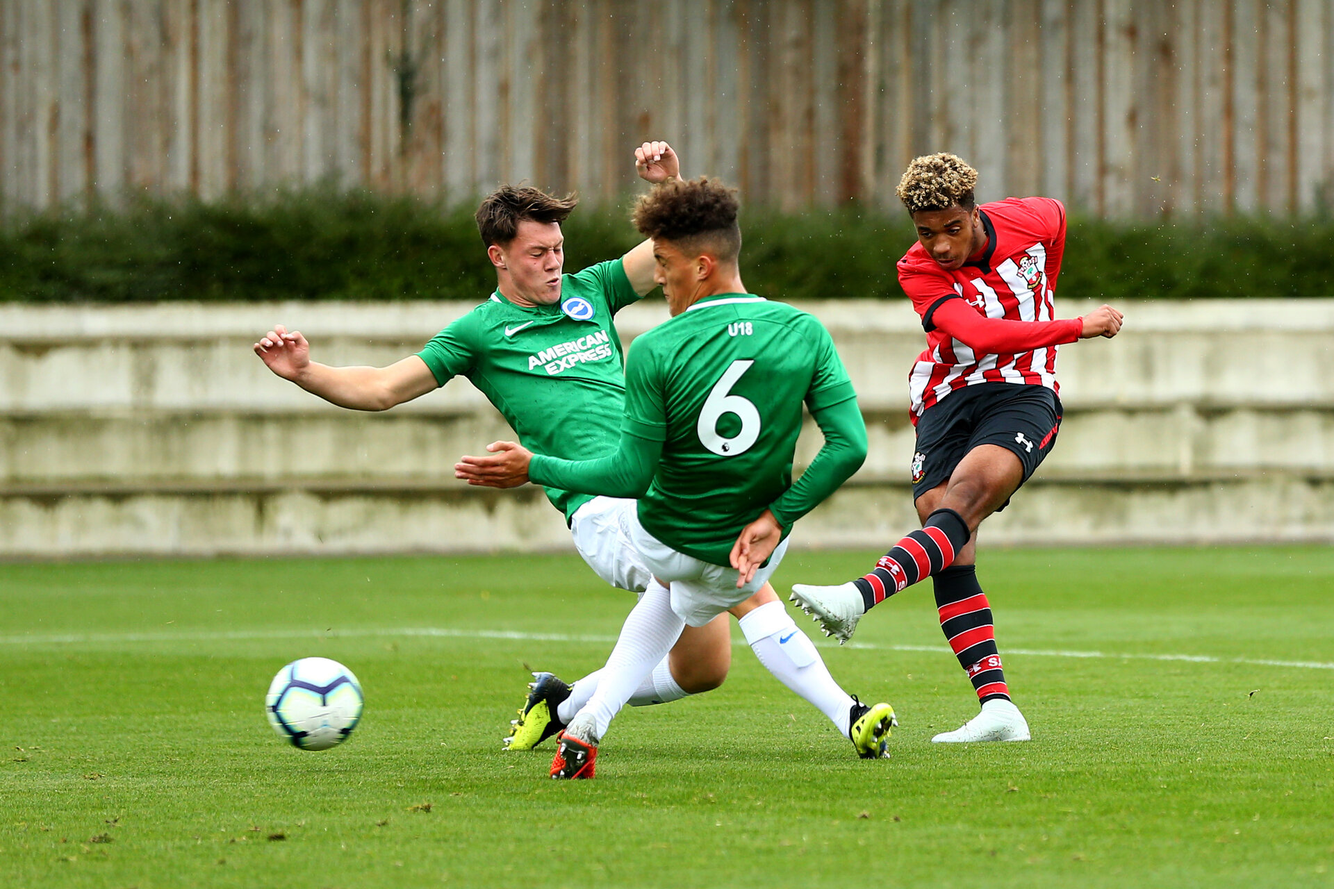SOUTHAMPTON, ENGLAND - SEPTEMBER 22: Enzo Robise (right) during the U18 Premier League match between Southampton FC and Brighton Hove Albion at Staplewood Training Ground on September 22, 2018 in Southampton, United Kingdom. (Photo by James Bridle - Southampton FC/Southampton FC via Getty Images)