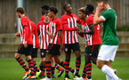 SOUTHAMPTON, ENGLAND - SEPTEMBER 22: Southampton FC  players celebrate after scoring during the U18 Premier League match between Southampton FC and Brighton Hove Albion at Staplewood Training Ground on September 22, 2018 in Southampton, United Kingdom. (Photo by James Bridle - Southampton FC/Southampton FC via Getty Images)