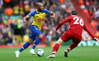 LIVERPOOL, ENGLAND - SEPTEMBER 22: Nathan Redmond of Southampton during the Premier League match between Liverpool FC and Southampton FC at Anfield on September 22, 2018 in Liverpool, United Kingdom. (Photo by Matt Watson/Southampton FC via Getty Images)