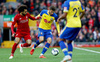 LIVERPOOL, ENGLAND - SEPTEMBER 22: Wesley Hoedt(R) of Southampton and Mohammed Salah(L) of Liverpool during the Premier League match between Liverpool FC and Southampton FC at Anfield on September 22, 2018 in Liverpool, United Kingdom. (Photo by Matt Watson/Southampton FC via Getty Images)