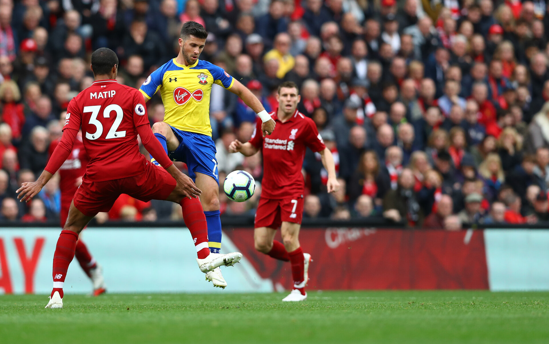 LIVERPOOL, ENGLAND - SEPTEMBER 22: Shane Long of Southampton during the Premier League match between Liverpool FC and Southampton FC at Anfield on September 22, 2018 in Liverpool, United Kingdom. (Photo by Matt Watson/Southampton FC via Getty Images)
