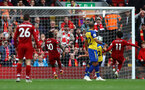 LIVERPOOL, ENGLAND - SEPTEMBER 22: Mohammed Salah scores for Liverpool during the Premier League match between Liverpool FC and Southampton FC at Anfield on September 22, 2018 in Liverpool, United Kingdom. (Photo by Matt Watson/Southampton FC via Getty Images)