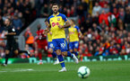 LIVERPOOL, ENGLAND - SEPTEMBER 22: Charlie Austin of Southampton during the Premier League match between Liverpool FC and Southampton FC at Anfield on September 22, 2018 in Liverpool, United Kingdom. (Photo by Matt Watson/Southampton FC via Getty Images)