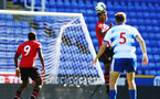 SOUTHAMPTON, ENGLAND - SEPTEMBER 29: Marcus Barnes (right) makes a header during a PL2 U23s match where Reading FC play Southampton FC at Madjeski Stadium on September 29, 2018 in Reading, England. (Photo by James Bridle - Southampton FC/Southampton FC via Getty Images)