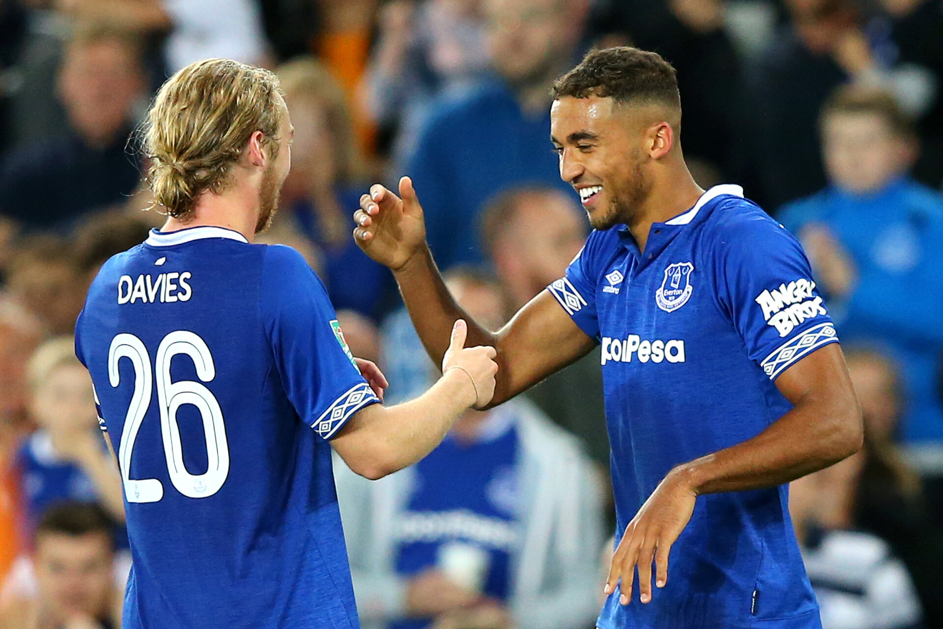 LIVERPOOL, ENGLAND - AUGUST 29:  Dominic Calvert-Lewin of Everton celebrates with teammate Tom Davies after scoring his team's second goal during the Carabao Cup Second Round match between Everton and Rotherham United at Goodison Park on August 29, 2018 in Liverpool, England.  (Photo by Alex Livesey/Getty Images)