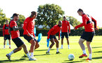 SOUTHAMPTON, ENGLAND - OCTOBER 01: LtoR Danny Ings, Jannik Vestergaard, Nathan Redmond, Jack Stephens, Matt Target during a Southampton FC training session at Staplewood Complex on October 1, 2018 in Southampton, England. (Photo by James Bridle - Southampton FC/Southampton FC via Getty Images)