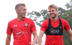 SOUTHAMPTON, ENGLAND - OCTOBER 05: James Ward-Prowse(L) and Stuart Armstrong during a Southampton FC training session at the Staplewood Campus on October 5, 2018 in Southampton, England. (Photo by Matt Watson/Southampton FC via Getty Images)