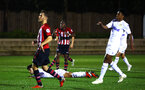 SOUTHAMPTON, ENGLAND - OCTOBER 05: Michael Obafemi (middle) scores for Southampton FC  during the PL2 match between Southampton FC and Leeds United FC U23s pictured at Staplewood Complex on October 5, 2018 in Southampton, England. (Photo by James Bridle - Southampton FC/Southampton FC via Getty Images)