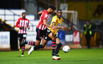 CAMBRIDGE, ENGLAND - OCTOBER 09: Marcus Barnes (left) of Southampton FC  during the U21s Checkatade Trophy between Cambridge United and Southampton FC pictured at Abbey Stadium on October 9, 2018 in Cambridge, England. (Photo by James Bridle - Southampton FC/Southampton FC via Getty Images)