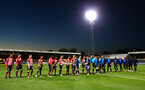 CAMBRIDGE, ENGLAND - OCTOBER 09: Southampton FC players shake hands with the match officials as well as Cambridge United ahead of the U21s Checkatade Trophy between Cambridge United and Southampton FC pictured at Abbey Stadium on October 9, 2018 in Cambridge, England. (Photo by James Bridle - Southampton FC/Southampton FC via Getty Images)