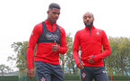 SOUTHAMPTON, ENGLAND - OCTOBER 25: Mario Lemina(L) and Nathan Redmond during a Southampton FC training session at the Staplewood Campus on October 25, 2018 in Southampton, United Kingdom. (Photo by Matt Watson/Southampton FC via Getty Images)