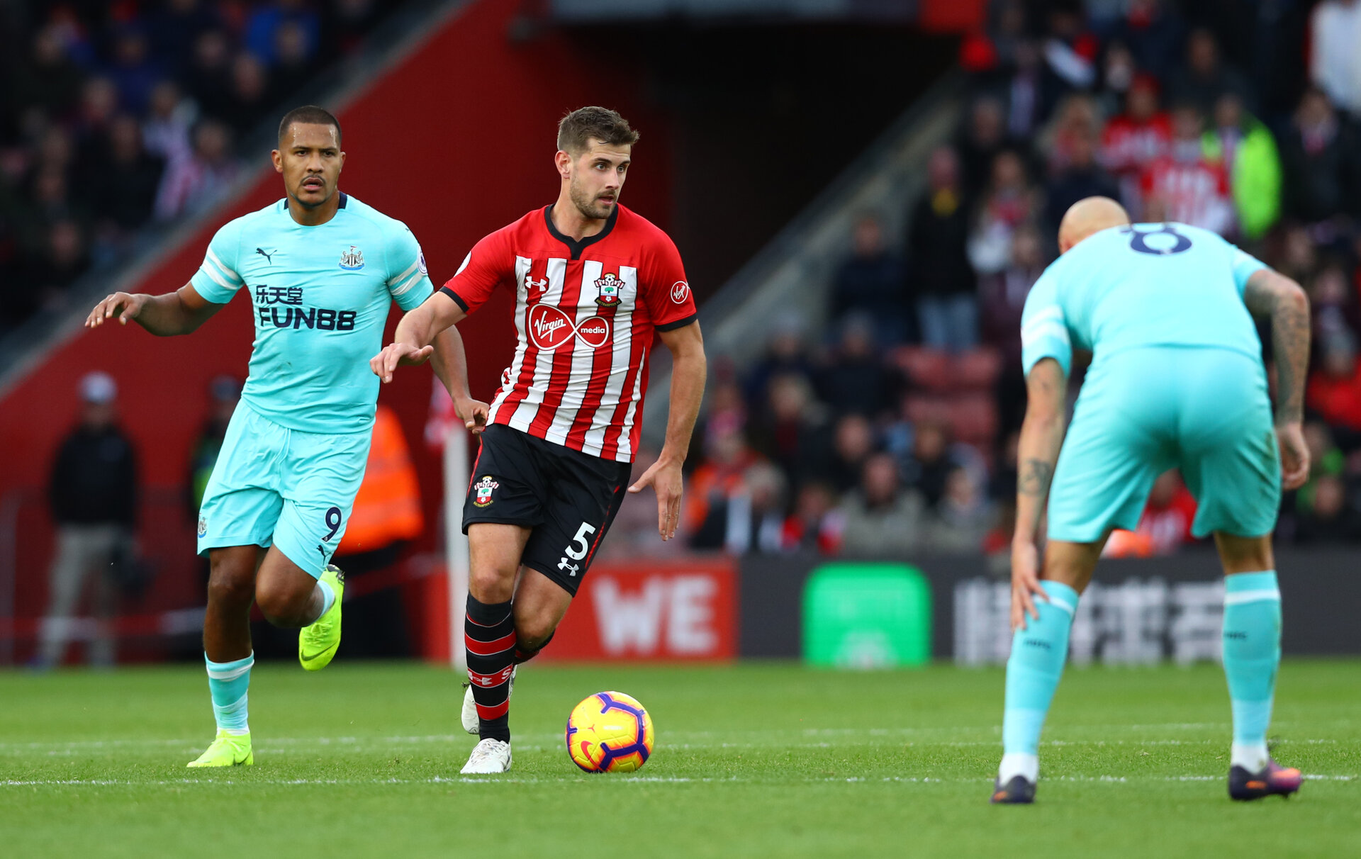 SOUTHAMPTON, ENGLAND - OCTOBER 27: Jack Stephens of Southampton during the Premier League match between Southampton FC and Newcastle United at St Mary's Stadium on October 27, 2018 in Southampton, United Kingdom. (Photo by Matt Watson/Southampton FC via Getty Images)