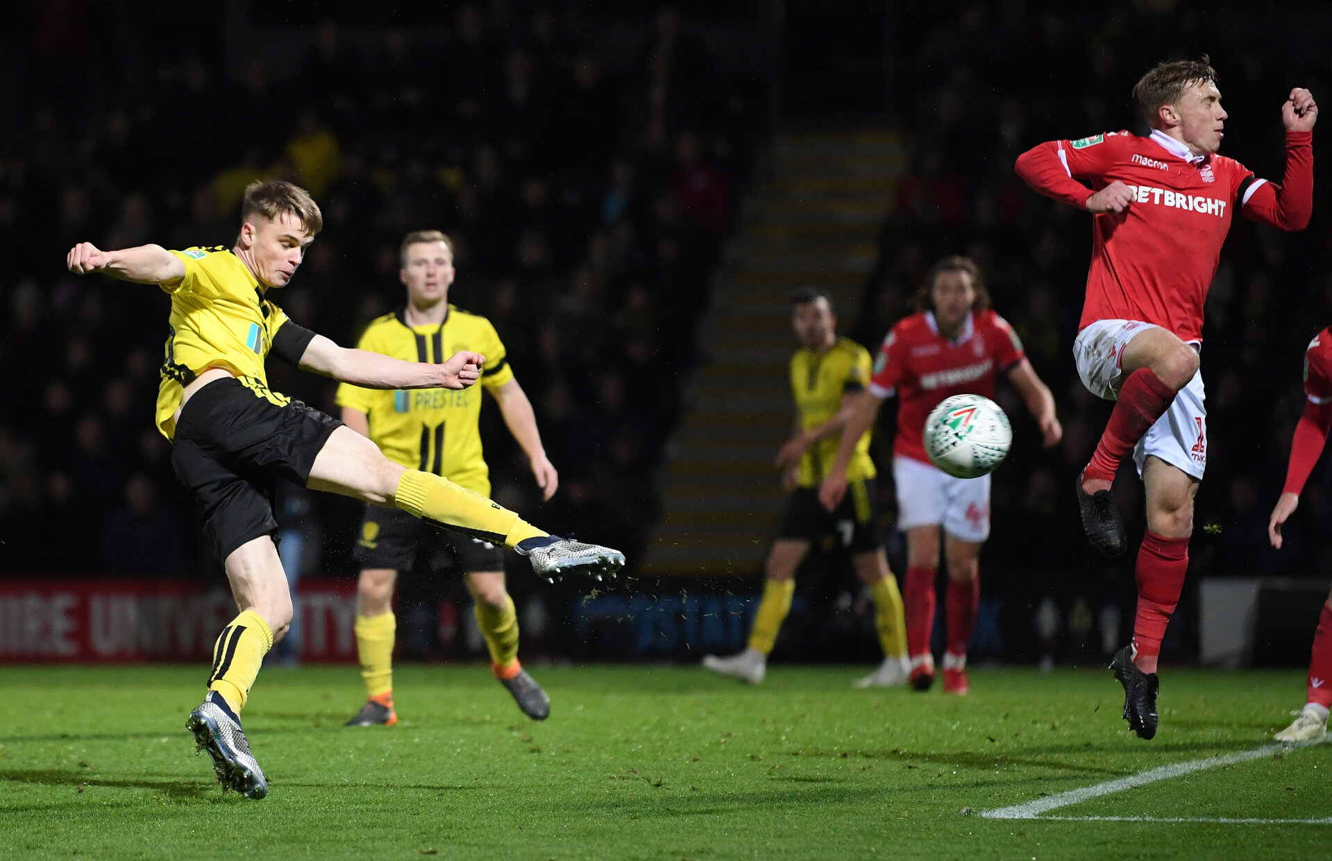 BURTON-UPON-TRENT, ENGLAND - OCTOBER 30:  Jake Hesketh of Burton Albion scores his team's third goal during the Carabao Cup Fourth Round match between Burton Albion and Nottingham Forest at Pirelli Stadium on October 30, 2018 in Burton-upon-Trent, England.  (Photo by Laurence Griffiths/Getty Images)
