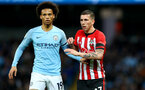 MANCHESTER, ENGLAND - NOVEMBER 04: Pierre-Emile Hojbjerg(R) of Southampton and Leroy Sane(L) of Manchester City during the Premier League match between Manchester City and Southampton FC at Etihad Stadium on November 4, 2018 in Manchester, United Kingdom. (Photo by Matt Watson/Southampton FC via Getty Images)